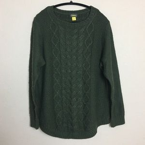 Cabela's Green Chunky Cable-knit Slouchy Sweater